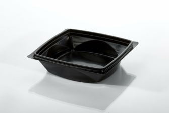 T22738 Tray 6.25'' Sq Blk PP Market Basket Empty