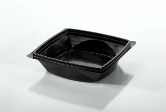 T22738 Tray 6.25'' Sq Blk PP Market Basket Empty